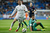Real Madrid´s Isco (L) and Cornella´s Borja during Spanish King Cup match between Real Madrid and Cornella at Santiago Bernabeu stadium in Madrid, Spain.December 2, 2014. (NortePhoto/ALTERPHOTOS/Victor Blanco)