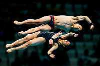 Picture by Rogan Thomson/SWpix.com - 15/07/2017 - Diving - Fina World Championships 2017 -  Duna Arena, Budapest, Hungary - Minami Itahashi and Kazuki Murakami compete in the Mixed 10m Synchro Platform Final.