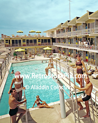 Attache Motel in Wildwood, New Jersey. 1960's retro photographs.
