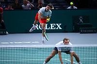 1st November 2019, AccorHotels Arena, Bercy, Paris, France; Rolex Paris Masters tennis tournament;  Lucas Pouille (FRA) and Julien Benneteau (FRA)