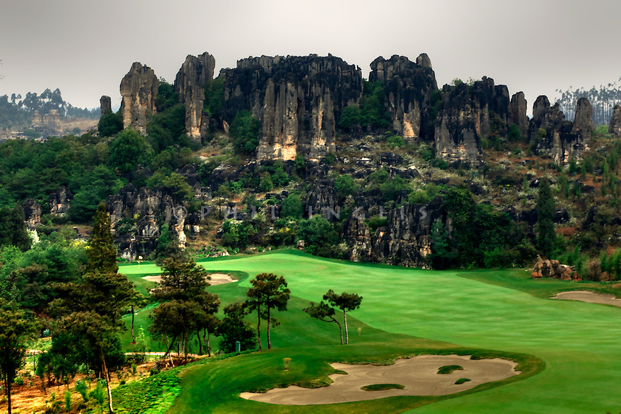 Stone Forest GC, Kunming, China. The three courses are designed by the Schmidt Curley design team and is adjacent to the world heritage site Stone Forest National Park. Photo Credit / Phil Inglis.....