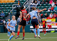 Rochester, NY - May 21, 2016: Western New York Flash forward Jessica McDonald (14) and Sky Blue FC's  Christie Rampone (3) during a National Women's Soccer League (NWSL) match at Sahlen's Stadium. The Western New York Flash go on to win 5-2.