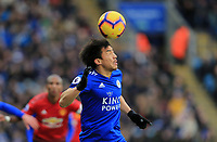 Shinji Okazaki of Leicester City wins the head challenge  during the Premier League match between Leicester City and Manchester United at King Power Stadium on February 3rd 2019 in Leicester, England. (Photo by Leila Coker/phcimages.com)<br /> Foto PHC Images / Insidefoto <br /> ITALY ONLY