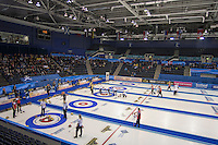 Glasgow. SCOTLAND. General View, of teams competing on the second day of the Round Robin games at the  Le Gruy&egrave;re European Curling Championships. 2016 Venue, Braehead  Scotland<br /> Sunday  20/11/2016<br /> <br /> [Mandatory Credit; Peter Spurrier/Intersport-images]