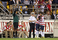 COLUMBUS, OHIO - SEPTEMBER 11, 2012:  Herculez Gomez (9) of the USA MNT is replaced with Jozy Altidore (17) in the second half against  Jamaica during a CONCACAF 2014 World Cup qualifying  match at Crew Stadium, in Columbus, Ohio on September 11. USA won 1-0.