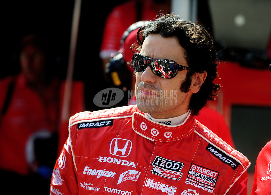 May 28, 2010; Indianapolis, IN, USA; IndyCar Series driver Dario Franchitti during carb day prior to the Indianapolis 500 at the Indianapolis Motor Speedway. Mandatory Credit: Mark J. Rebilas-