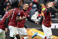 Ante Rebic of AC Milan celebrates with team mates after scoring the goal of dedfinitive 3-2 <br /> Milano 19/01/2020 Stadio Giuseppe Meazza <br /> Football Serie A 2019/2020 <br /> AC Milan - Udinese Calcio <br /> Photo Image Sport / Insidefoto