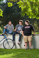 Children of staff & faculty that are now students, from L-R: Tatiana Garnett '21, Owen Keith '21, Jacob T. Montag '20. Oxy Wear photo featured in the Fall 2017 Occidental Magazine. Photo taken Sept. 12, 2017 near the Academic Quad.<br /> (Photo by Marc Campos, Occidental College Photographer)