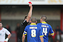 Ben Chorley of Leyton Orient is shown the red card by Referee Darren Sheldrake.- Stevenage v Leyton Orient- npower League 1 - Lamex Stadium, Stevenage - 2nd January 2012  .© Kevin Coleman 2012