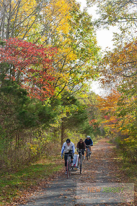 Bicycling on the towpath, Delaware and Raritan Canal State Park, New Jersey