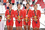 China team group (CHN), <br /> AUGUST 28, 2018 - Cycling - Track : Women's Team Pursuit Victory ceremony at Jakarta International Velodrome during the 2018 Jakarta Palembang Asian Games in Jakarta, Indonesia. <br /> (Photo by MATSUO.K/AFLO SPORT)