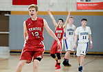 WOLCOTT, CT-031418JS16- ACTION PERSON-- Wamogo's Garrett Sattazahn (12) and Ethan Collins (11) celebrate their 64-57 win over East Hampton in the Division V semifinal game Wednesday at Wolcott High School. <br /> Jim Shannon Republican-American
