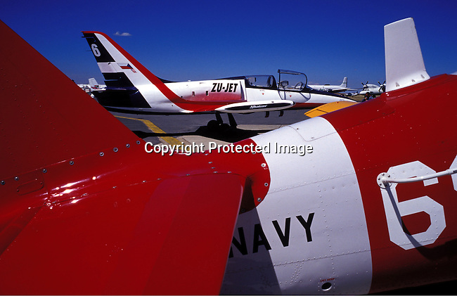 ditraer00001.Transport. Aeroplanes. A fighter jet plane on May 9, 2003 at Rand Airport east of Johannesburg, South Africa. These planes can be rented and are used by wealthy foreigners visting the country..©Per-Anders Pettersson/iAfrika Photos