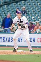 Texas Christian Horned Frogs first baseman Kevin Cron #00 waits for a throw during the game against the Sam Houston State Bearkats at Minute Maid Park on February 28, 2014 in Houston, Texas.  The Bearkats defeated the Horned Frogs 9-4.  (Brian Westerholt/Four Seam Images)