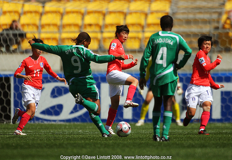 Nigeria's Desire Oparanozie shoots from a free kick during the FIFA Women's Under-17 World Cup pool match between Korea and Nigeria at Westpac Stadium, Wellington, New Zealand on Thursday, 30 October 2008. Photo: Dave Lintott / lintottphoto.co.nz