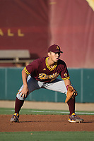 Lyle Lin (27) of the Arizona Sun Devils in the field at first base during a game against the Southern California Trojans at Dedeaux Field on March 24, 2017 in Los Angeles, California. Southern California defeated Arizona State, 5-4. (Larry Goren/Four Seam Images)