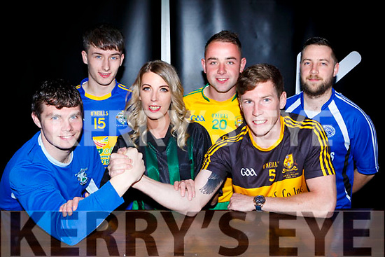 Jamie Doolan Killarney Athletic,Chris O'Donoghue Glenflesk, Carrie Dineen referee, Donnacha Buckley Gneeveguilla, Buddy O'Leary Dr Crokes and Gearoid O'Connor Quarry Park Rangers who competed in the Battle of the clubs in the Ktown bar on Friday night