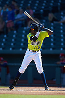 Ronny Mauricio (2) of the Columbia Fireflies at bat against the Rome Braves at Segra Park on May 13, 2019 in Columbia, South Carolina. The Fireflies walked-off the Braves 2-1 in game one of a doubleheader. (Brian Westerholt/Four Seam Images)