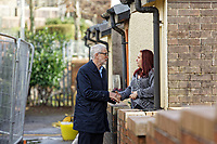 Pictured: Jeremy Corbyn with local resident Theresa Davies whose house suffered flood damage. Thursday 20 February 2020<br /> Re: Jeremy Corbyn, the leader of the Labour Party visits the area of Rhydyfelin near Pontypridd, south Wales, UK.