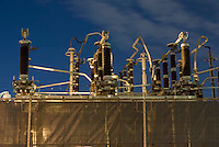 THIS IMAGE IS AVAILABLE EXCLUSIVELY FROM CORBIS.<br /> <br /> PLEASE SEARCH FOR IMAGE # 42-20075561 ON WWW.CORBIS.COM.<br /> <br /> Detail of Electric Power Transformers at an Electric Power Generating Plant, Brooklyn, New York City, New York State, USA