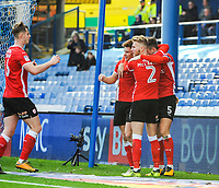 Barnsley's midfielder Harvey Barnes (15) is joined by Barnsley's defender Liam Lindsay (6) to celebrate 1 - 1 during the Sky Bet Championship match between Sheff Wednesday and Barnsley at Hillsborough, Sheffield, England on 28 October 2017. Photo by Stephen Buckley / PRiME Media Images.