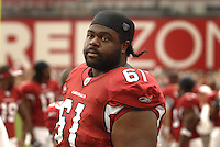 Aug 18, 2007; Glendale, AZ, USA; Arizona Cardinals guard Elton Brown (61) against the Houston Texans at University of Phoenix Stadium. Mandatory Credit: Mark J. Rebilas-US PRESSWIRE Copyright © 2007 Mark J. Rebilas
