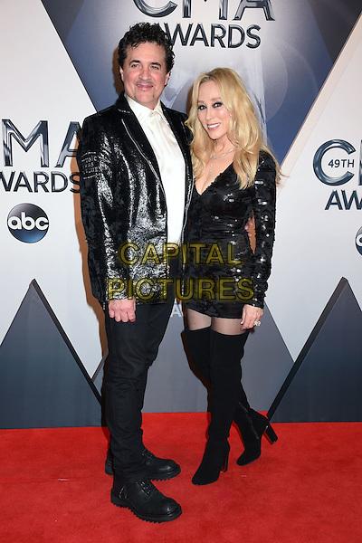 4 November 2015 - Nashville, Tennessee - Scott Borchetta, Sandi Spika Borchetta. 49th CMA Awards, Country Music's Biggest Night, held at Bridgestone Arena. <br /> CAP/ADM/LF<br /> &copy;LF/ADM/Capital Pictures