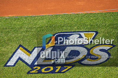 6 October 2017: The 2017 NLDS Logo is ready for the start of the play between the Washington Nationals and the Chicago Cubs at Nationals Park in Washington, DC. The Cubs shut out the Nationals 3-0 to take a 1-0 lead in their best of five Postseason series. Mandatory Credit: Ed Wolfstein Photo *** RAW (NEF) Image File Available ***