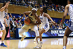 DURHAM, NC - FEBRUARY 01: Georgia Tech's Kierra Fletcher (left) and Duke's Lexie Brown (4). The Duke University Blue Devils hosted the Georgia Tech University Yellow Jackets on February 1, 2018 at Cameron Indoor Stadium in Durham, NC in a Division I women's college basketball game. Duke won the game 77-59.