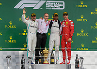 Valtteri BOTTAS (FIN) (MERCEDES-AMG PETRONAS MOTORSPORT), Lewis HAMILTON (GBR) (MERCEDES-AMG PETRONAS MOTORSPORT) and Charles LECLERC (FRA) (SCUDERIA FERRARI)  during the Formula 1 Rolex British Grand Prix 2019 at Silverstone Circuit, Towcester, England on 14 July 2019. Photo by Vince  Mignott.