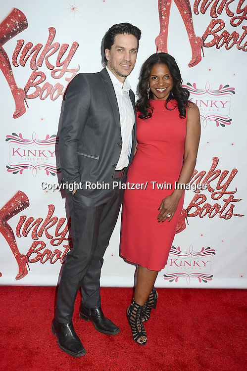 """Will Swenson and wife Audra McDonald arrive at the """"Kinky Boots"""" Broadway Opening on April 4, 2013 at The Al Hirschfeld Theatre in New York City. Harvey Fierstein wrote is the Book Writer and Cnydi Lauper is the Composer."""
