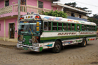 Colourful public bus in the village of Ataco in western El Salvador