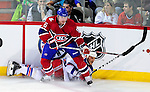 23 January 2010: Montreal Canadiens' defenseman Jaroslav Spacek upends New York Rangers left wing forward Sean Avery during a game at the Bell Centre in Montreal, Quebec, Canada. The Canadiens shut out the Rangers 6-0. Mandatory Credit: Ed Wolfstein Photo