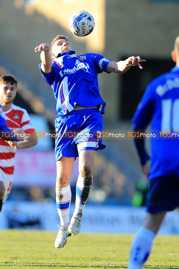Doug Loft of Gillingham takes a ball down on his chest - Gillingham vs Doncaster Rovers - Sky Bet League One Football at Priestfield Stadium, Gillingham, Kent - 07/03/15 - MANDATORY CREDIT: Simon Roe/TGSPHOTO - Self billing applies where appropriate - contact@tgsphoto.co.uk - NO UNPAID USE