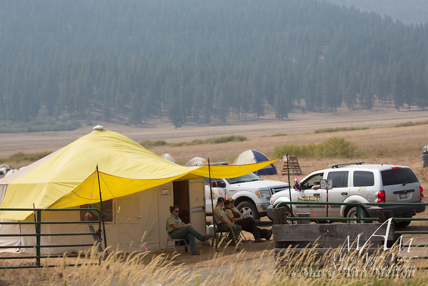 Firefighter's base while fighting the wildfires in Idaho