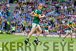 Killian Spillane, Kerry celebrates his side's only goal during the GAA Football All-Ireland Senior Championship Final match between Kerry and Dublin at Croke Park in Dublin on Sunday.
