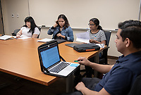 From left: Alison Salazar '19, Obama Fellow; Noa Richard '22 and Sherin Aboobucker '22, inaugural Barack Obama Scholars and Carlos Gonzalez '19, Obama Fellow participate in a seminar class led by Ryan Preston-Roedder, Obama Scholars Program faculty advisor and an associate professor of philosophy, March 26, 2019 in classroom 111 of Swan Hall. Cléo Charpantier '19 was also in the class.<br /> (Photo by Marc Campos, Occidental College Photographer)