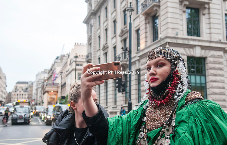 Daniel Lismore, the British fabric sculptor, designer, and campaigner at the Extinction Rebellion 'Carn-evil of Chaos' Fashion Parade at the Brazillian Embassy to show solidarity with the people of Brazil and their eco system. Pic by Lisa Dawson Rees