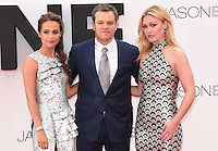 "Alicia Vikander, Matt Damon and Julia Stiles<br /> arrives for the ""Jason Bourne"" premiere at the Odeon Leicester Square, London.<br /> <br /> <br /> ©Ash Knotek  D3139  11/07/2016"