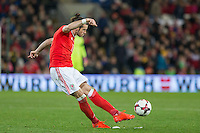 Gareth Bale of Wales shoots at goal during the FIFA World Cup Qualifying match between Wales and Serbia at the Cardiff City Stadium, Cardiff, Wales on 12 November 2016. Photo by Mark  Hawkins.