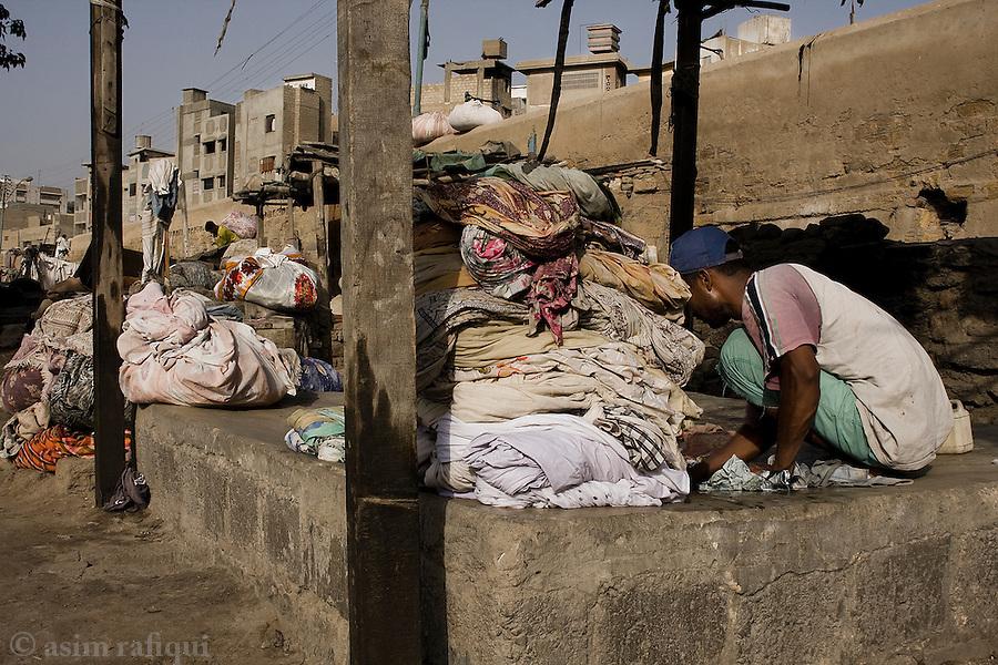 In the dhobi ghats of old Karachi.