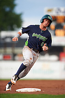 Vermont Lake Monsters second baseman Trace Loehr (6) rounds third during the first game of a doubleheader against the Batavia Muckdogs August 11, 2015 at Dwyer Stadium in Batavia, New York.  Batavia defeated Vermont 6-0.  (Mike Janes/Four Seam Images)