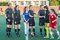 Boston, MA - Saturday April 29, 2017: Game officials during a regular season National Women's Soccer League (NWSL) match between the Boston Breakers and Seattle Reign FC at Jordan Field.