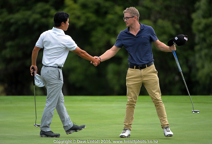 Tae Koh and James Betts. The final day of the Jennian Homes Charles Tour Lawnmaster Classic Manawatu Open at Manawatu Golf Club, Palmerston North, New Zealand on Saturday, 20 March 2016. Photo: Dave Lintott / lintottphoto.co.nz