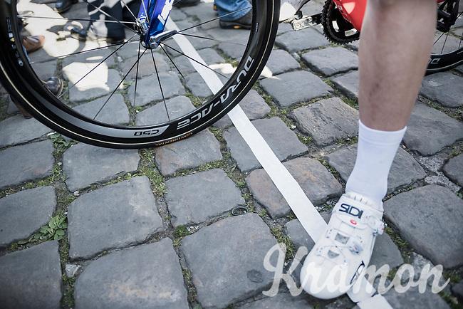 the cobbled start line in Compi&egrave;gne<br /> <br /> 115th Paris-Roubaix 2017 (1.UWT)<br /> One Day Race: Compi&egrave;gne &rsaquo; Roubaix (257km)
