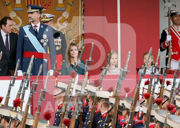 King Felipe VI of Spain, Queen Letizia of Spain, Princess Leonor of Spain and Princess Sofia of Spain attend Spain's National Day Military Parade. October 12 ,2014. (ALTERPHOTOS/Pool)