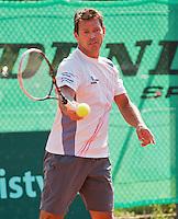 Netherlands, Amstelveen, August 22, 2015, Tennis,  National Veteran Championships, NVK, TV de Kegel,  Men's  45+, Niels de Kok<br /> Photo: Tennisimages/Henk Koster