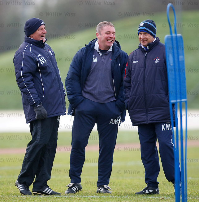 Walter Smith, Ally McCoist and Kenny McDowall larking around at training