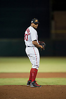 Mesa Solar Sox relief pitcher Darwinzon Hernandez (30), of the Boston Red Sox organization, gets ready to deliver a pitch during an Arizona Fall League game against the Scottsdale Scorpions on October 9, 2018 at Scottsdale Stadium in Scottsdale, Arizona. The Solar Sox defeated the Scorpions 4-3. (Zachary Lucy/Four Seam Images)