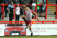 Tom Parkes of Exeter City and Arthur Iontton of Stevenage during Stevenage vs Exeter City, Sky Bet EFL League 2 Football at the Lamex Stadium on 10th August 2019